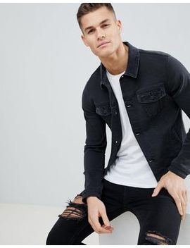 Asos Skinny Denim Jacket With Cord Collar In Washed Black by Asos