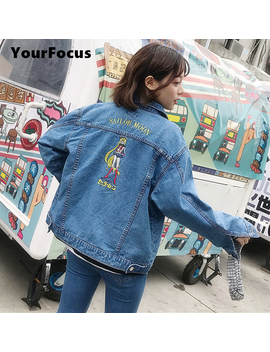 2017 Harajuku Vintage Retro Cute Kawaii Style Do The Old Cartoon Sailor Moon Embroidery Denim Jacket Women And Men Jean Jacket by Your Focus Store