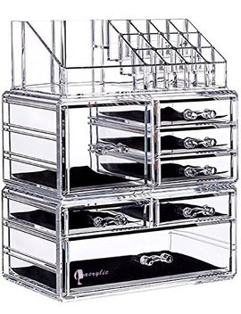 """Cq Acrylic 7 Drawers And 16 Grid Makeup Organizer With Cosmetic Storage Cases,9.5""""X6.5""""X11.8"""",Clear 2 Piece Set by Cq Acrylic"""