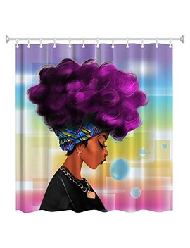 Women Black Shower Curtain,Zblx African Women With Purple Hair Hairstyle  Waterproof Mildew Resistant Fabric Polyester 100 Percents Shower Curtain. by Zblx