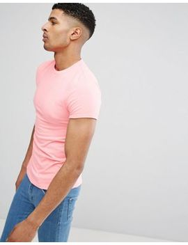 Asos Design Muscle T Shirt With Roll Sleeves In Pink by Asos