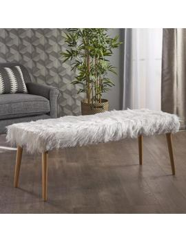 Majestic Mid Century Long Hair Faux Fur Ottoman by Gdf Studio