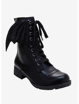 Black Bat Wing Combat Boot by Hot Topic
