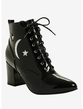 Black Patent Leather Hologram Moon & Stars Pointed Toe Bootie by Hot Topic