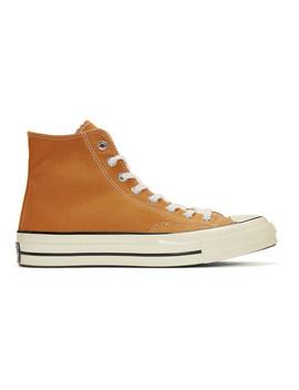 Orange Chuck Taylor Canvas Vintage High Top Sneakers by Converse