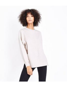 Stone Slouchy Split Side Sweatshirt by New Look