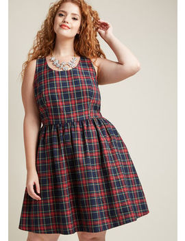 Sleeveless Dress With Scoop Neck In Plaid In Xs Sleeveless Dress With Scoop Neck In Plaid In Xs by Modcloth