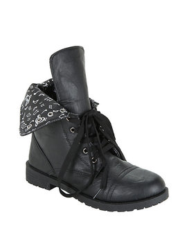 Black Music Note Lined Combat Boots by Hot Topic