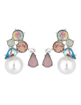 Red Herring   Crystal And Pearl Cluster Earrings by Red Herring