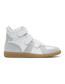 White Triple Velcro Sneakers by Maison Margiela
