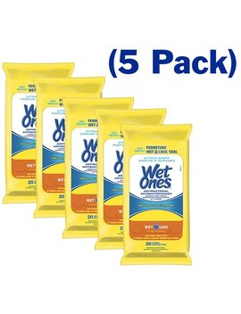 Wet Ones Wipes For Hands & Face, 20 Count Travel Pack (Pack Of 5) 100 Wipes Total (Anti Bacterial) (Citrus) by Wet Ones