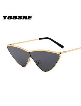 Yooske Vintage Cat Eye Sunglasses Women Small Triangle Sun Glasses Fashion Color Lenses Female Glasses Metal Frame Uv400 by Yooske Glasses Store