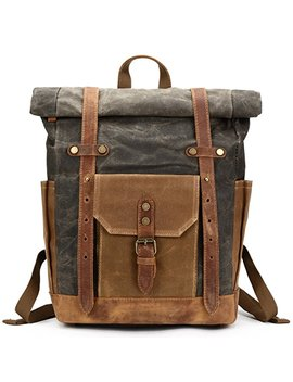 Mwatcher Waterproof Waxed Canvas Leather College Weekend Travel Laptops Backpack by Mwatcher