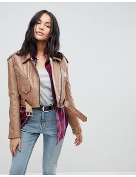 Asos Vintage Style Leather Jacket by Asos Collection
