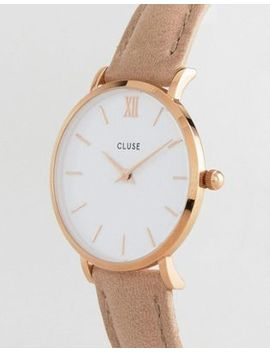 Cluse Cl30043 Minuit Leather Watch Rose Gold White/Hazelnut by Cluse