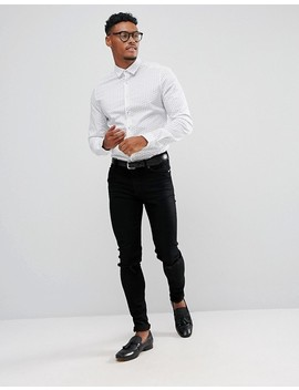 Asos Smart Stretch Slim Pailsey Shirt With Contrast Navy Button Attach by Asos