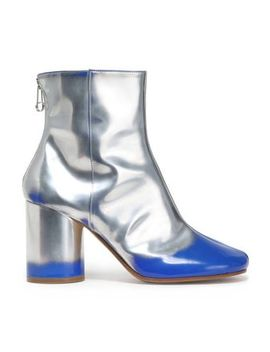 Metallic Leather Ankle Boots by Maison Margiela