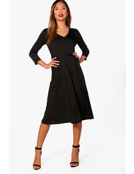 Zoe 3/4 Sleeve Wrap Over Dress by Boohoo