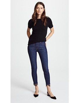 The High Waisted Looker Dagger Ankle Fray Jeans by Mother