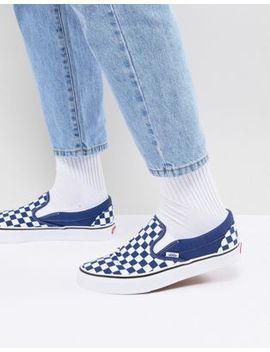 Vans Classic Checkerboard Slip Ons In Blue Va38 F7 Qcn by Vans