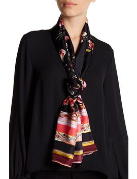 Floral Bordered Oblong Print Silk Scarf by Max Studio