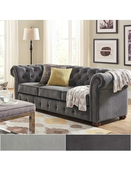 Knightsbridge Velvet Tufted Scroll Arm Chesterfield Seating Collection By I Nspire Q Artisan by I Nspire Q