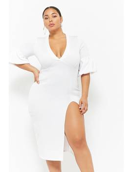 Plus Size Plunging Lantern Sleeve Dress by Forever 21