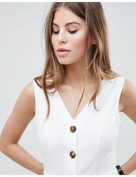 Asos Design V Neck Dress With Tortoiseshell Buttons by Asos Design