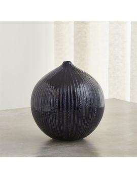 Rope Indigo Blue Ceramic Vase by Crate&Barrel