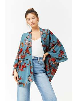 Floral Print Open Front Kimono by F21 Contemporary