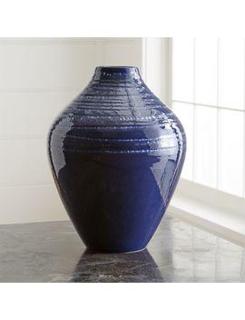 Jelena Indigo Blue Ceramic Vase by Crate&Barrel