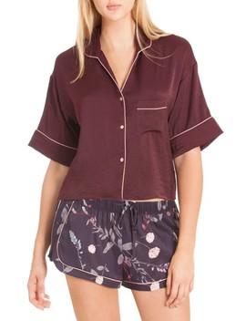 Crop Satin Pajama Top by Midnight Bakery