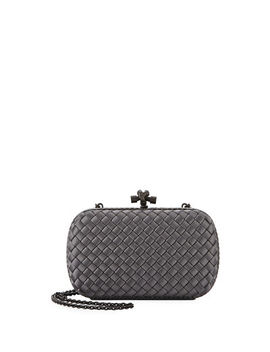 Medium Chain Knot Satin Clutch Bag by Bottega Veneta