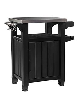 Keter Unity Indoor Outdoor Bbq Entertainment Storage Table / Prep Station With Metal Top by Keter