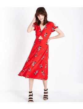 Red Floral Button Up Cut Out Midi Dress by New Look