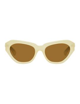 Ivory Linda Farrow Edition 166 C4 Sunglasses by Dries Van Noten