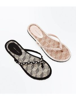 2 Pack Black And Tan Woven Straw Flip Flops by New Look
