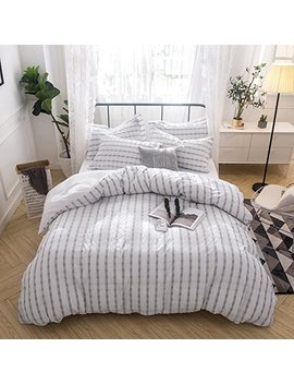 Merryfeel Seersucker 100 Percents Cotton Yarn Dyed Duvet Cover Set   King Grey by Merryfeel
