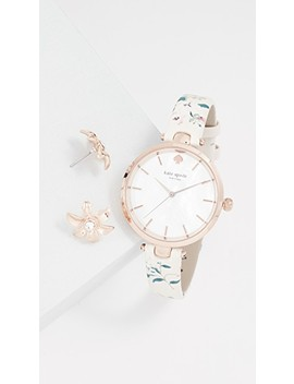 Holland Floral Watch, 35mm & Earrings Set by Kate Spade New York