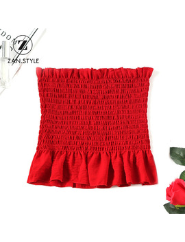 Zan.Style Women Strapless Smocked Ruffle Tube Top Solid Color Summer Bandeau Crop Tops Tees Camisole Intimates Tanks Tops Femme by Zan.Style Official Store