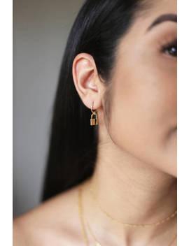 Lock Earring, Dainty Earring, Charm Hoop Earrings, Gold Hoops, Lock It Up Lover Earrings, Dainty Jewelry, Charm Earrings, Lock Charms by Etsy