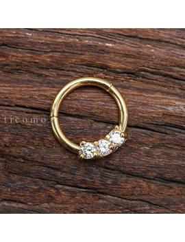 Daith Piercing Hoop Daith Hoop Septum Ring Septum Piercing Rook Earring Rook Piercing 16g Bcr Gold Zircon by Etsy