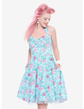 Blue Floral Tiki Swing Dress by Hot Topic