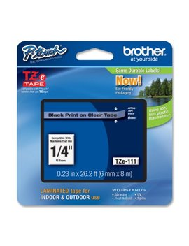 Brother Laminated Tape Black On Clear, 6mm (Tze111)   Retail Packaging by Brother