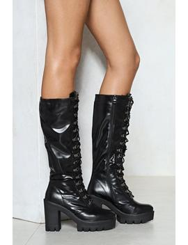 Rise To The Challenge Vegan Leather Boot by Nasty Gal