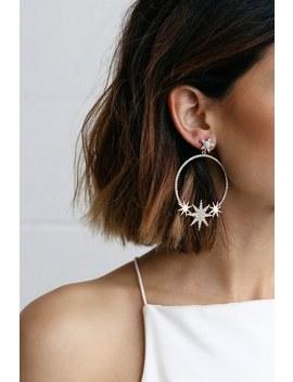 Glow Up Rose Gold Star Rhinestone Hoop Earrings by Lulus