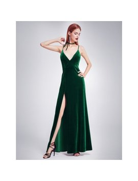 Ever Pretty Women's Elegant Long Classic Deep V Neck Velet Evening Maxi Dress With High Slit 07181 (Green Us 12) by Ever Pretty