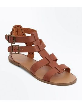 Tan Stud Buckle Gladiator Sandals by New Look