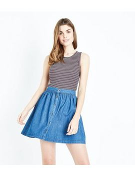 Blue Button Front Lightweight Denim Mini Skirt by New Look