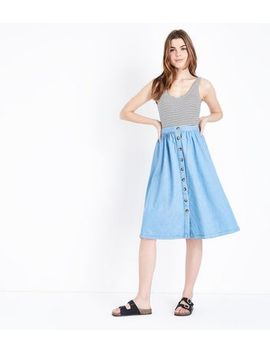 Pale Blue Button Front Denim Midi Skirt by New Look